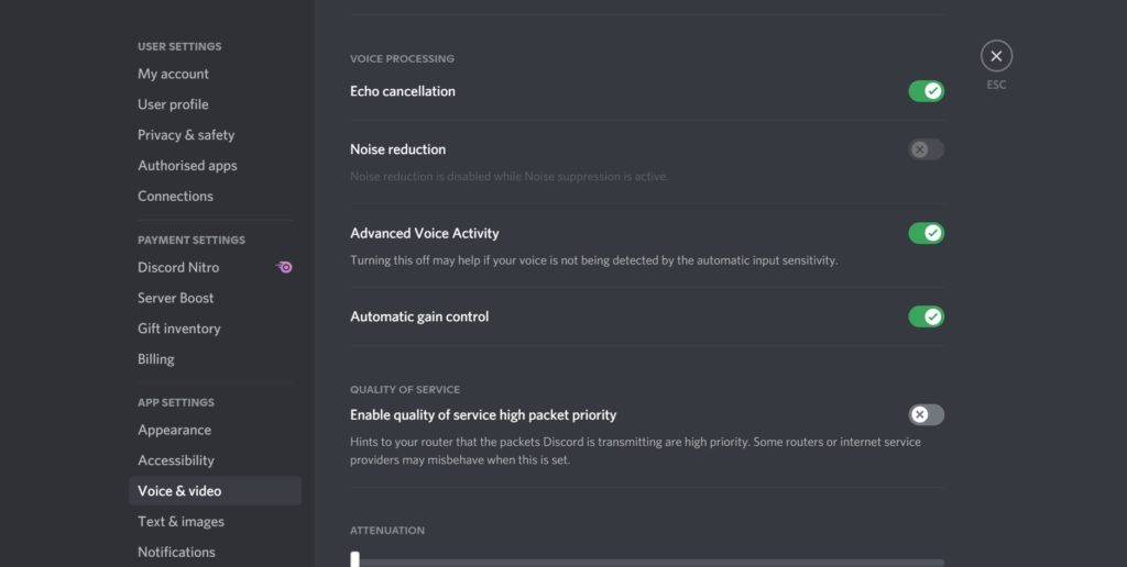 Edit Voice Processing Settings Enable 2FA on Discord